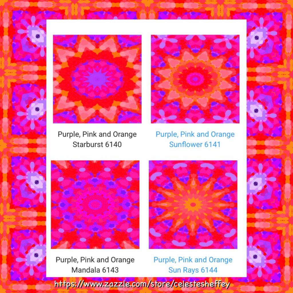 Purple, Pink and Orange mandala art designs