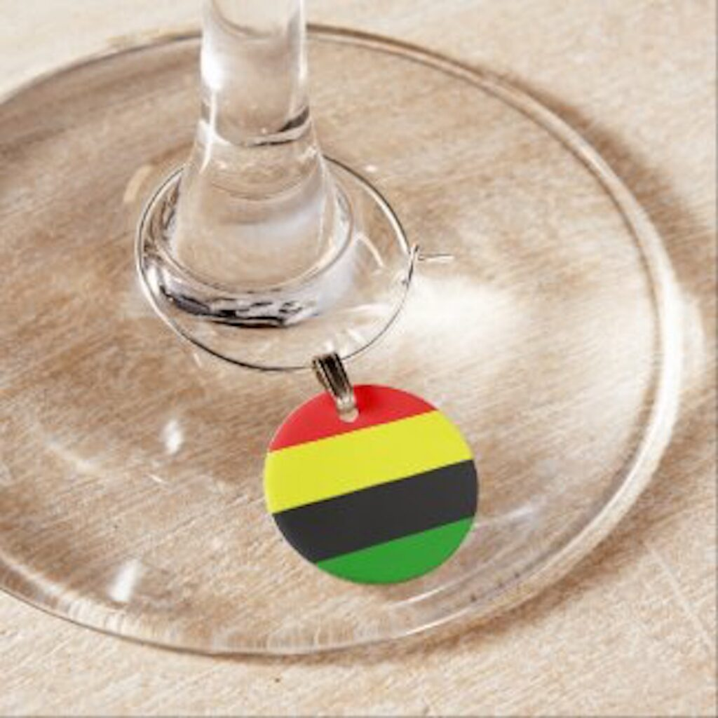 Afrocentric inspired striped wine charm