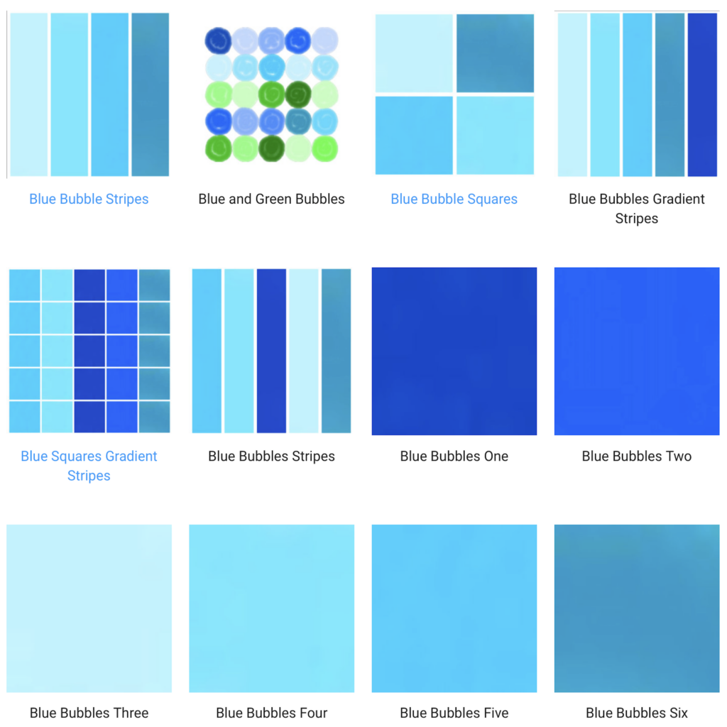 blue and green art designed prints and solid color patterned home decor
