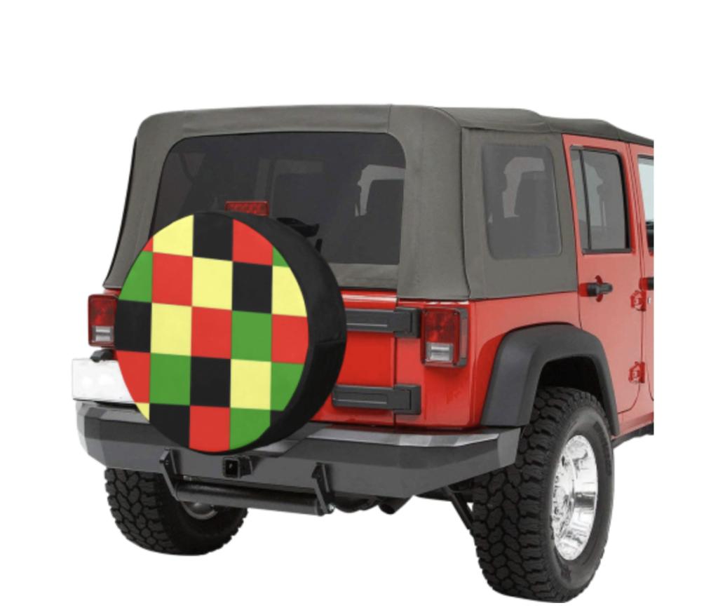 checkered spare tire cover