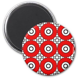 Black, White and Red magnet
