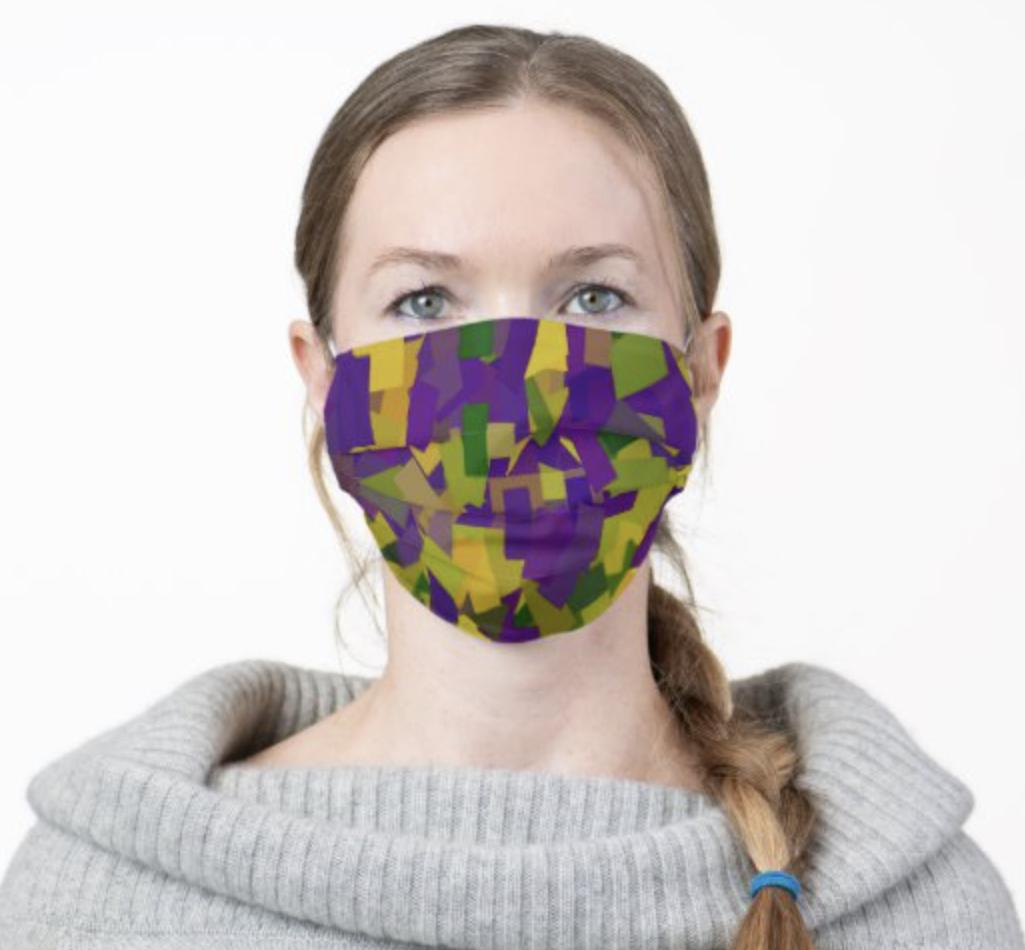 Mardi Gras colors face mask