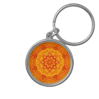 Orange and yellow floral Mandala keychain