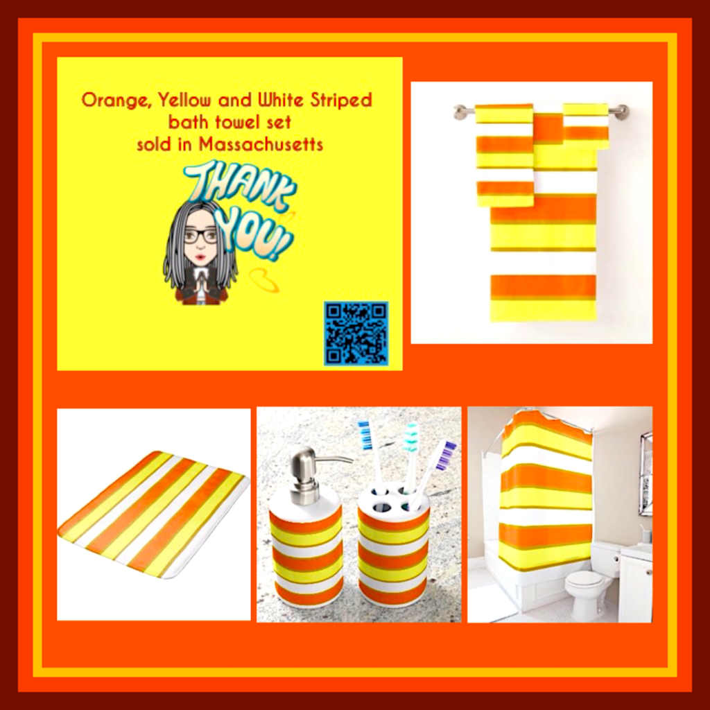 bath decor sale of Orange, Yellow and White striped bath towel set.