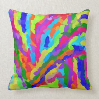 Colorful Neon Magic Marker graphic art designed throw pillow