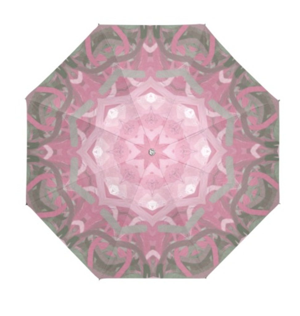 Pretty sorority colors of pink and green mandala designed umbrella