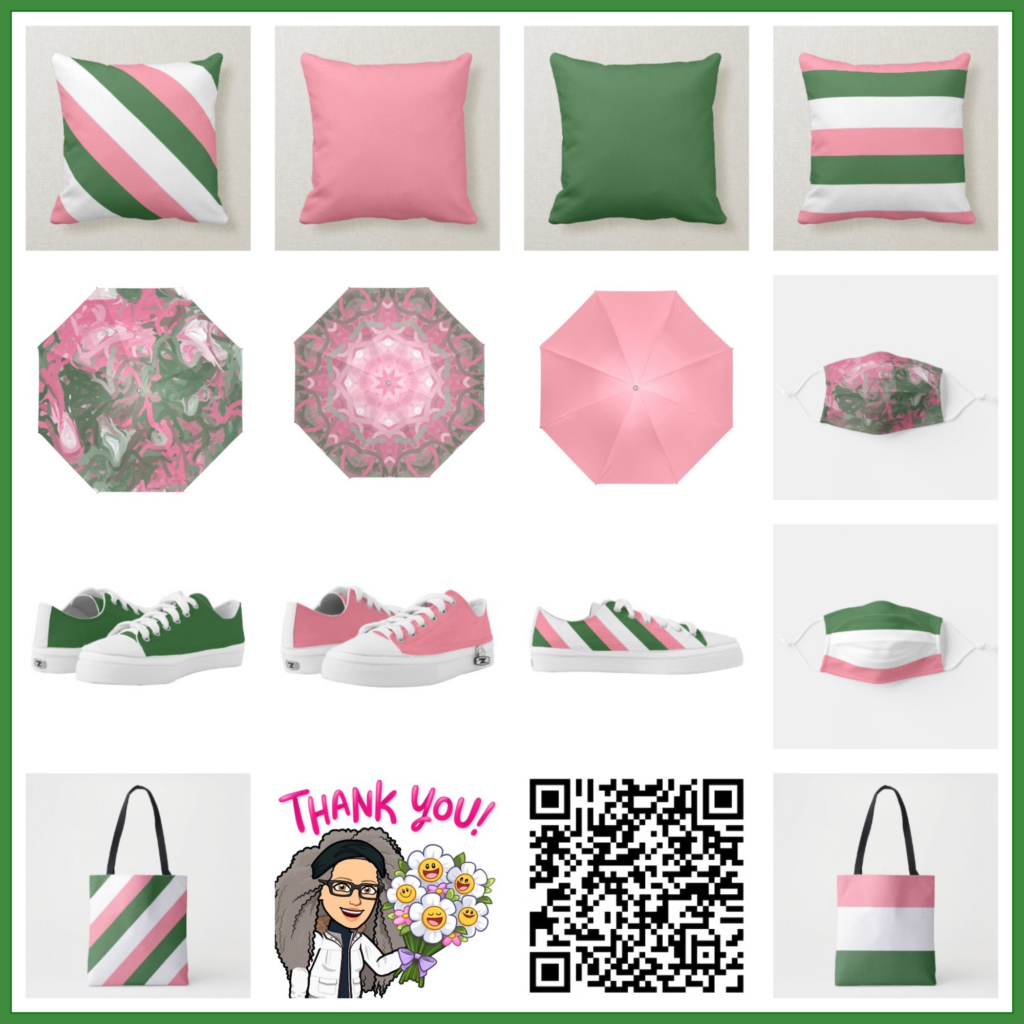 Sorority colors of pink and green designed fashion wear