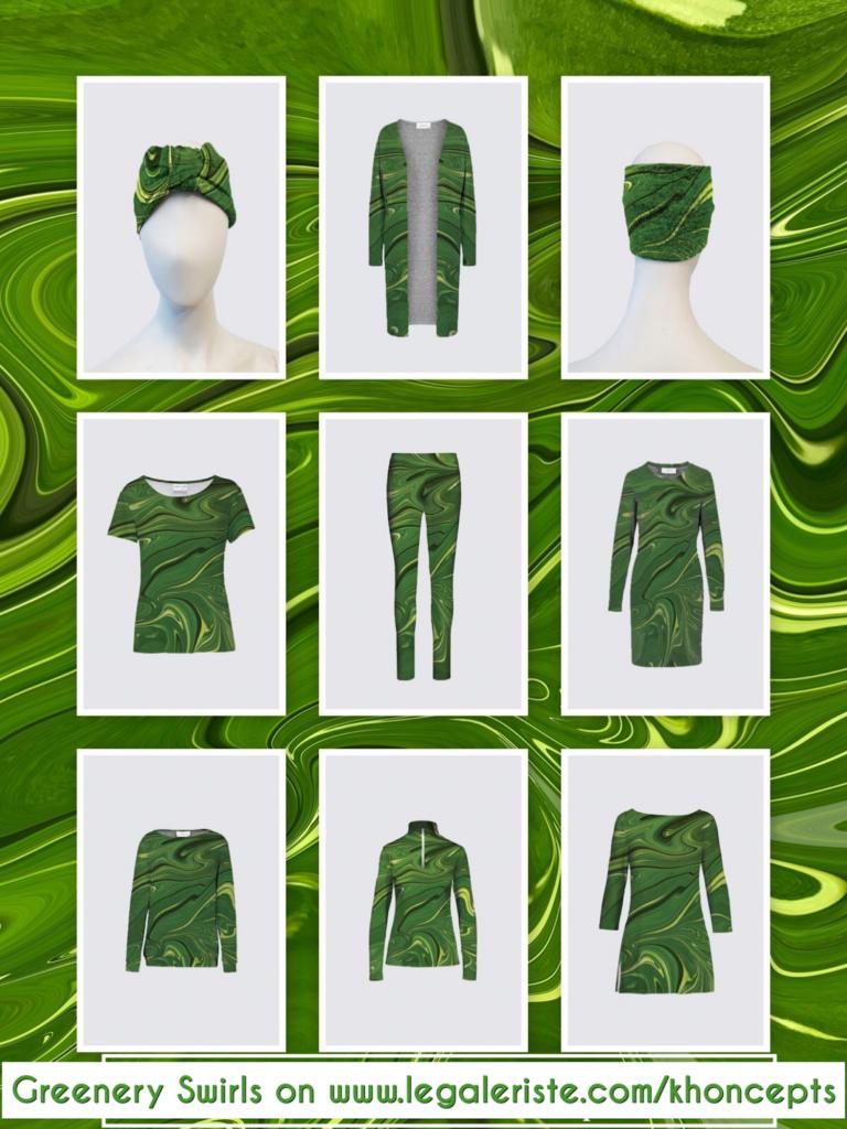 Swirls of Green patterned designed fashion wear