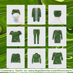 Pretty green swirls art designed fashion wear