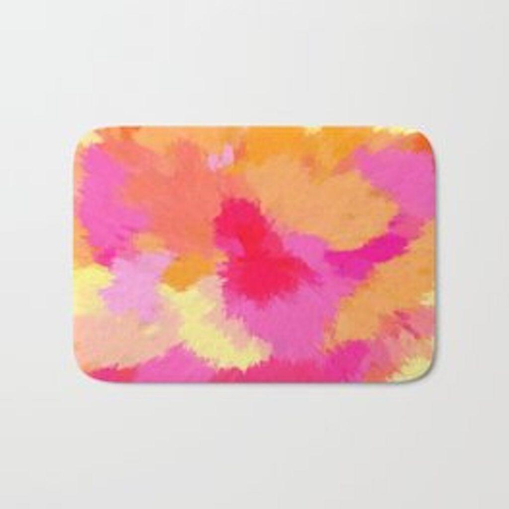 Pink, Orange and Yellow Watercolor bath mat