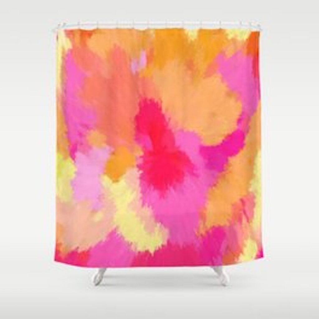 Pink, Orange and Yellow Watercolor shower curtain