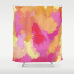 Watercolor pink, orange and yellow bath decor