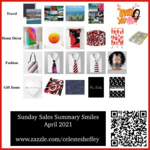 Sunday Sales Report for Celeste Sheffey's Zazzle shops