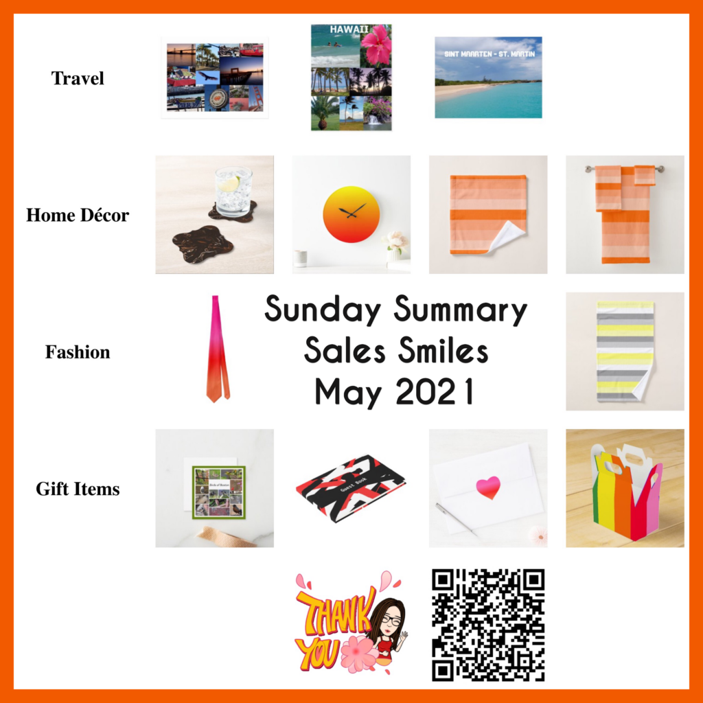 Monthly Sunday Sales Smiles for Celeste's Zazzle shops for May 2021