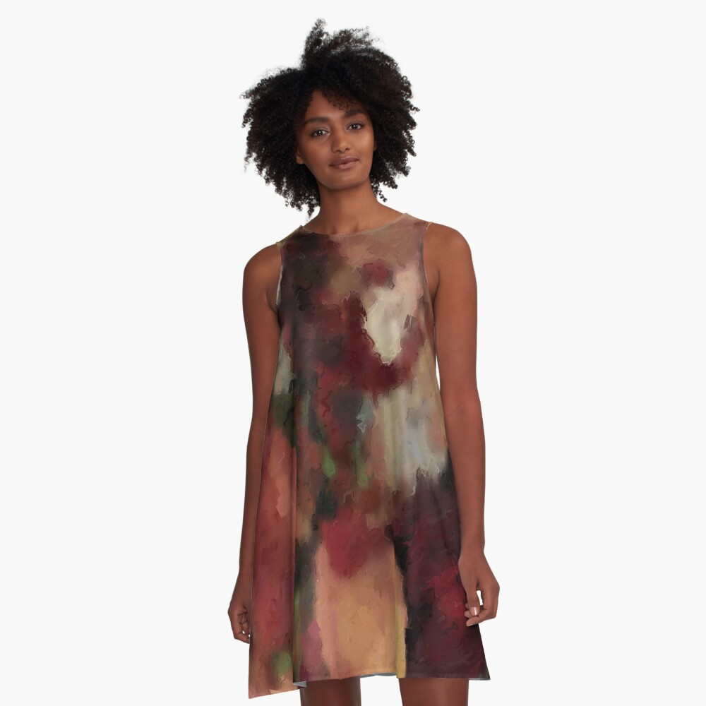 Autumn Watercolor Abstract A-Line dress