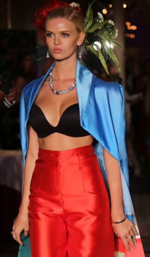 Jennifer Reeves Fine Jewelry accessorizing the Andres Aquino fashion collection during the Global Short Film Awards gala held at the Intercontinental Carlton Cannes in Cannes, France.