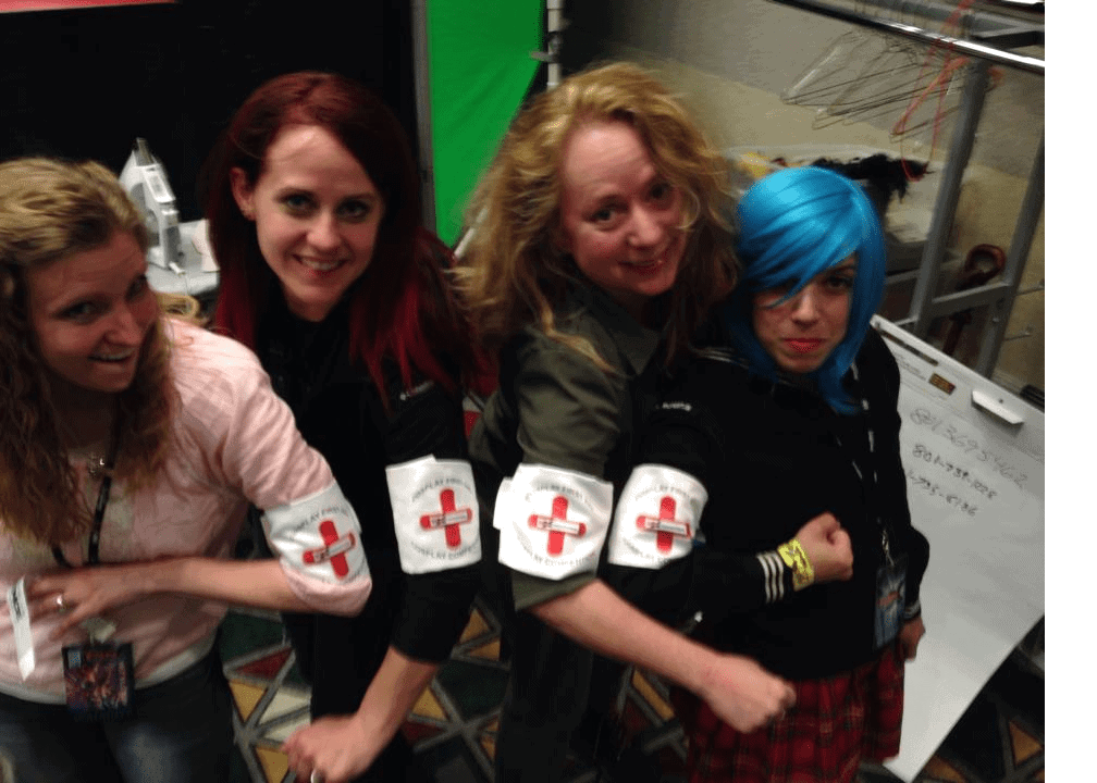 A few of our crew (Eliza, Jessica, Jen and Ivonne) running the Cosplay Competition and the Cosplay First Aid Station (giving free costume repair supplies and services to all Salt Lake Comic Con attendees). 2014
