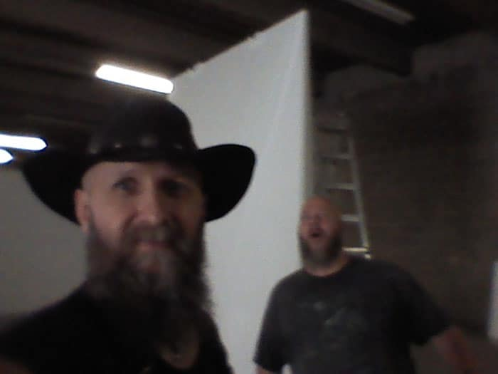 Hraefn and Russ, working on giant stage props for USANA