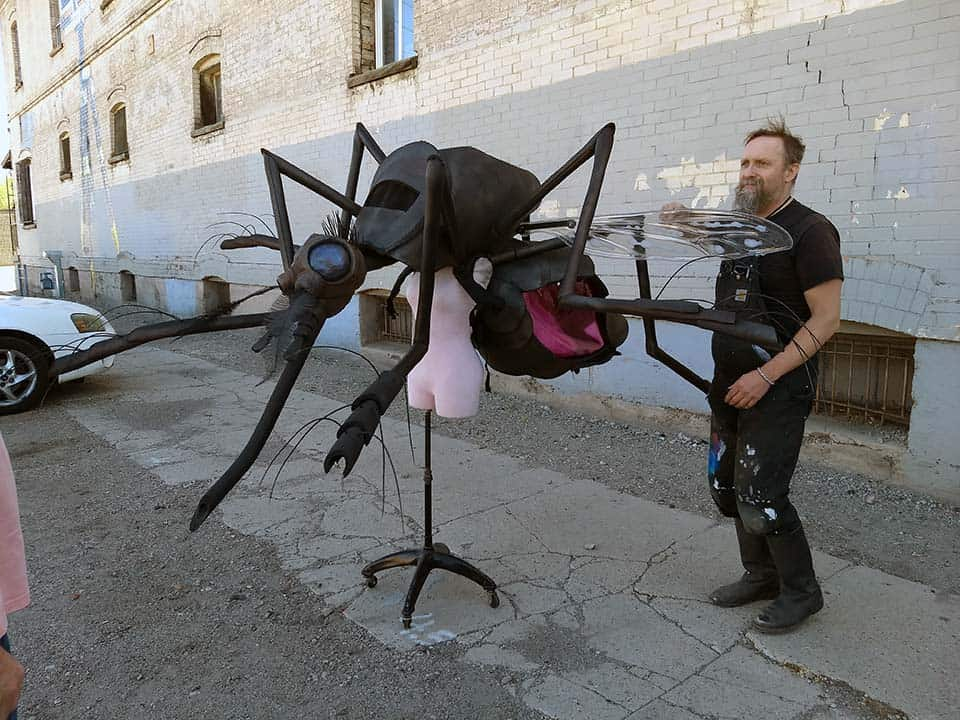 Spooky in the daylight, the new mosquito mascot is ready to be disassembled for travel