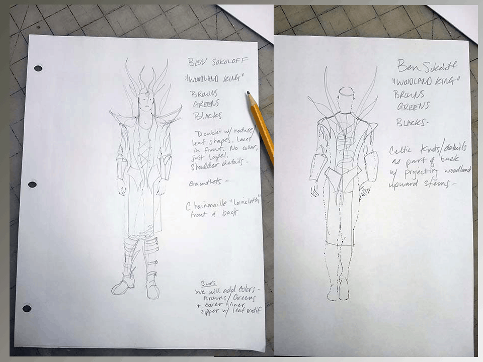 preliminary sketches of client's new costume design