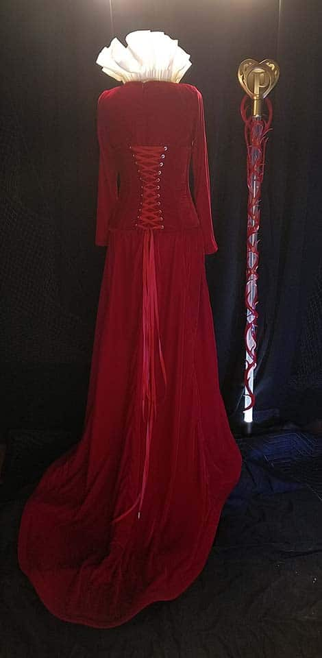 Custom Queen of Hearts costume, ready to go to the Perfectly Posh convention. Silk velvet and silk organza.