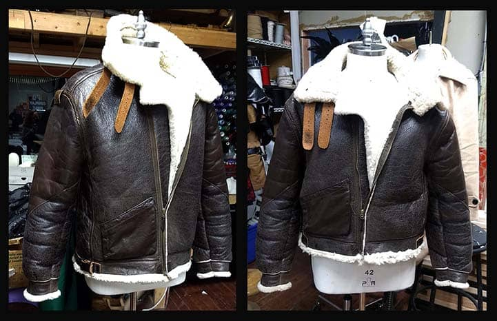 "B3 bomber jacket before and after its alterations- shortened about 4"" total."