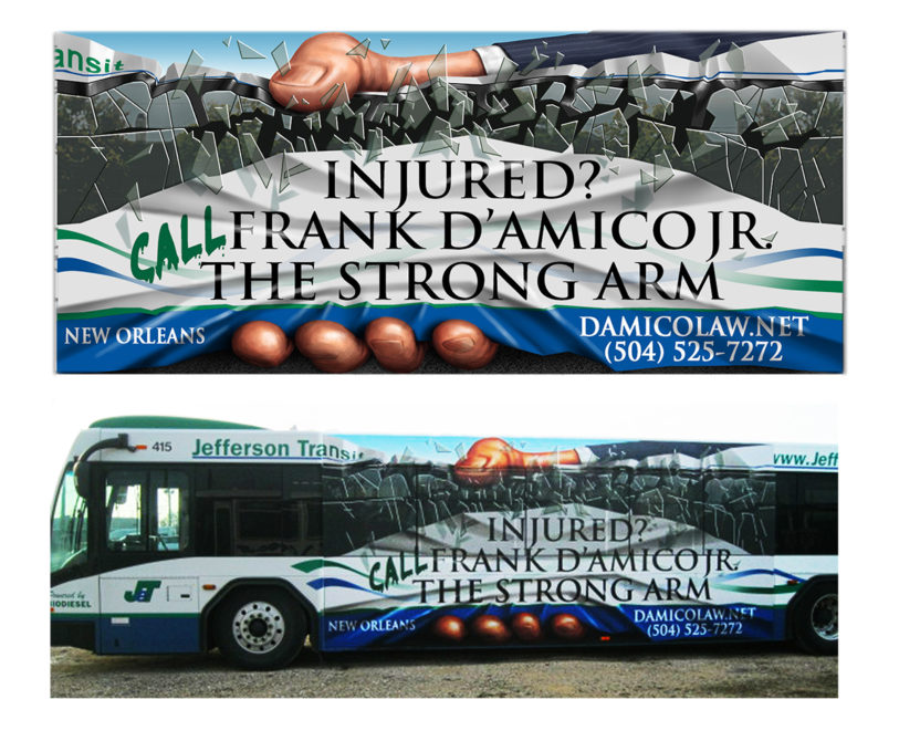 digital illustration by John Fraser for D'Amico Law to appear on the sides of buses in New Orleans for Hoffman, Miller Advertising, bus ad, transit ad, bus painting , transit graphic, breaking glass, crushing hand, the strong arm of the law