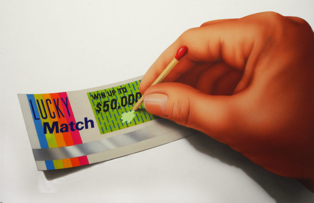 illustration by John Fraser for consumer ad for Lucky Match lotto tickets for Ogilvy, Mather Advertising, lottery tickets, hand, matches, gambling, winning ticket