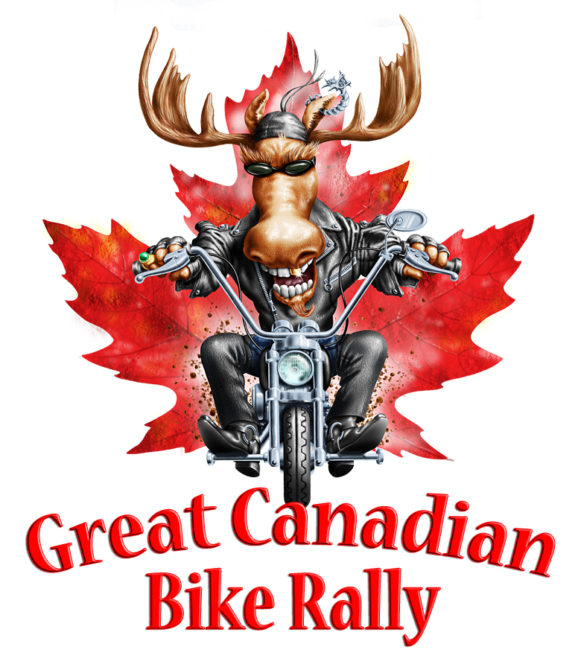 digital illustration by John Fraser for t-shirts for The Great Canadian Bike Rally, motorcycles, moose, leathers, speed, bike rally,