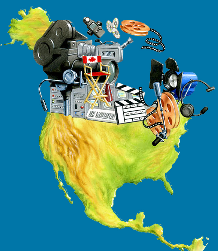 Illustration by John Fraser of Canada made up of movie related items, cinema, film, movie equipment