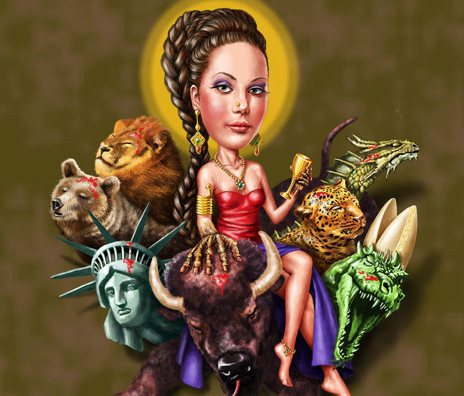 Digital illustration by John Fraser for the book The Chiasm of Daniel and Revelations published by Teach Services, Collage, animals, dragon, leopard, statue of liberty, bufallo, lion, bear,