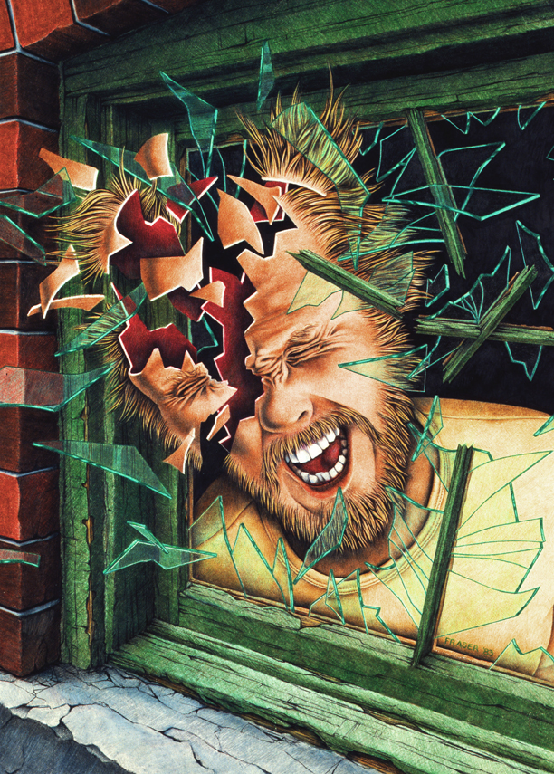 Art and Illustration image by John Fraser portraying madness, coloured pencil, scream, madness crashing glass, breaking glass