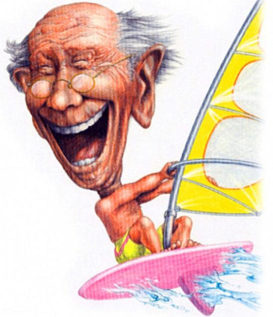 Toronto Star illustration for article about living longer by John Fraser, old age, windsurfing, living longer, exercise, staying healthy, article in The Toronto Star about living longer