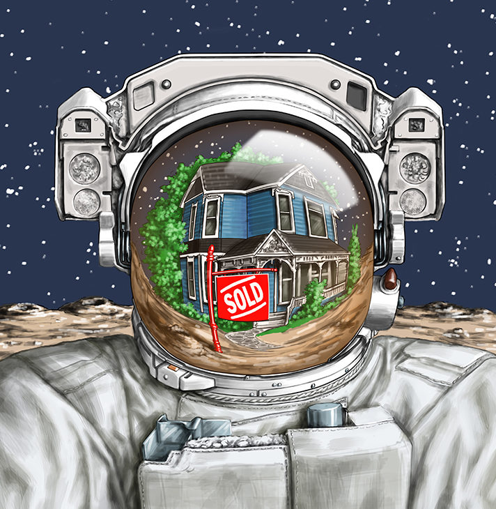 Digital illustration by John Fraser of man in space suit with residential property reflected in the visor, spaceman, astronomy, living on the moon, moonwalk