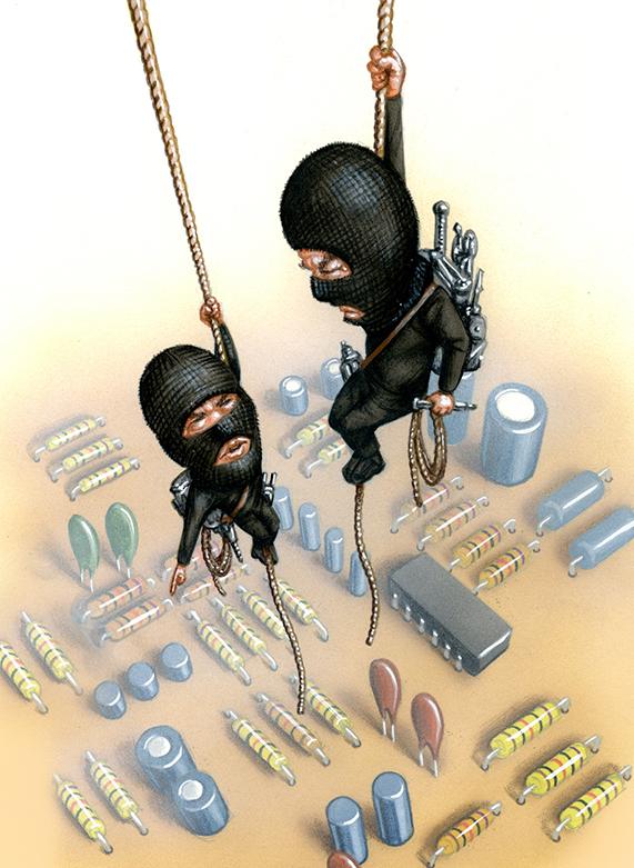 Illustration by John Fraser of Ransomware Criminals infiltrating a computer motherboard, ransomware, computer virus, computer trojan horse, hijack computer, break and enter, second story men