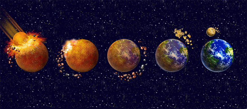 digital illustration by John Fraser of the formation of the earth's moon from the book Idiot's Guide Science Mysteries Explained, astronomy, moon, earth, big bang, formation of the universe, planets,
