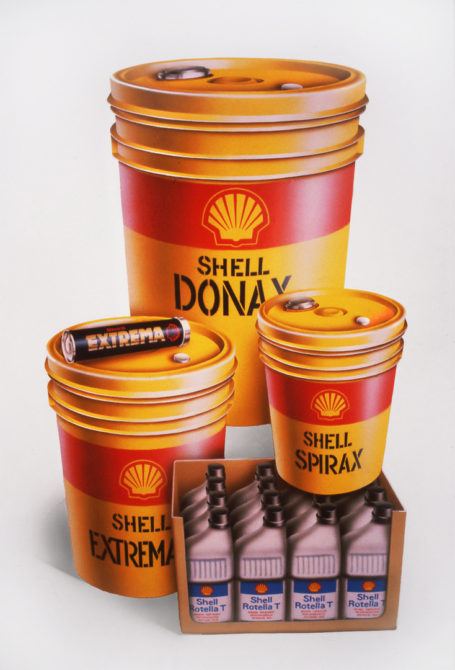 Illustration by John Fraser of Shell Lubricant products for a poster by Ogilvy Mather Advertising, product illustration, package illustration, advertising poster,