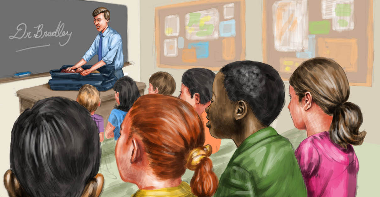digital illustration by John Fraser of doctor visiting classroom from children's book Body Wars, classroom, teacher, students, school