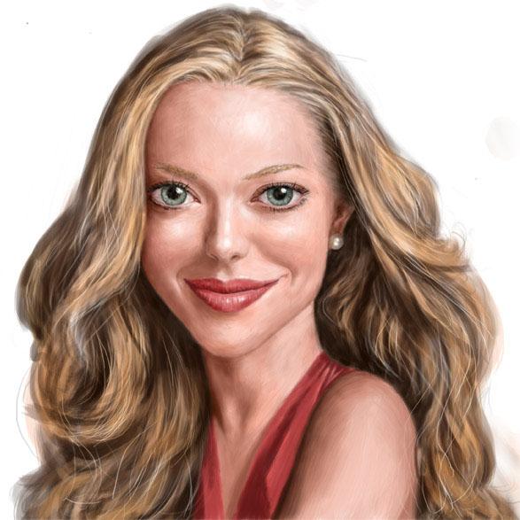 caricature, beautiful woman, pretty woman, portrait, blond girl, smile, digital portrait of Amanda Seyfried by John Fraser