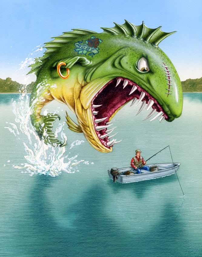 airbrushed illustration by John Fraser of aggressive fish attacking fisherman, fishing, sport fishing, the one that got away, aggressive fish, dangerous fish, fresh water fishing