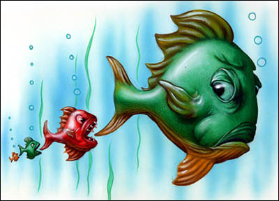 illustration of fish in reverse pecking order by John Fraser for The Toronto Star