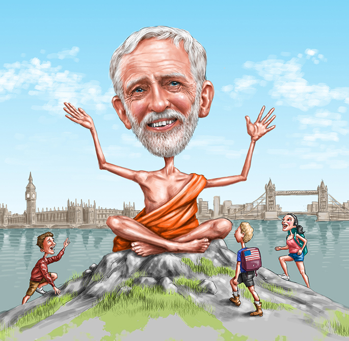 Jeremy Corbyn as a Guru - The Progressive Magazine (Kerstin Diehn AD)
