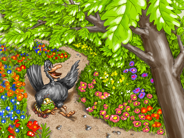 Digital Illustration by John Fraser of Kibble and Larry Strolling Through The Forest for childrens book Kibble The Monarch Caterpillar Afraid To Get Wings by Anita Gnan, forest, flowers, animal characters, friends, walk in the woods