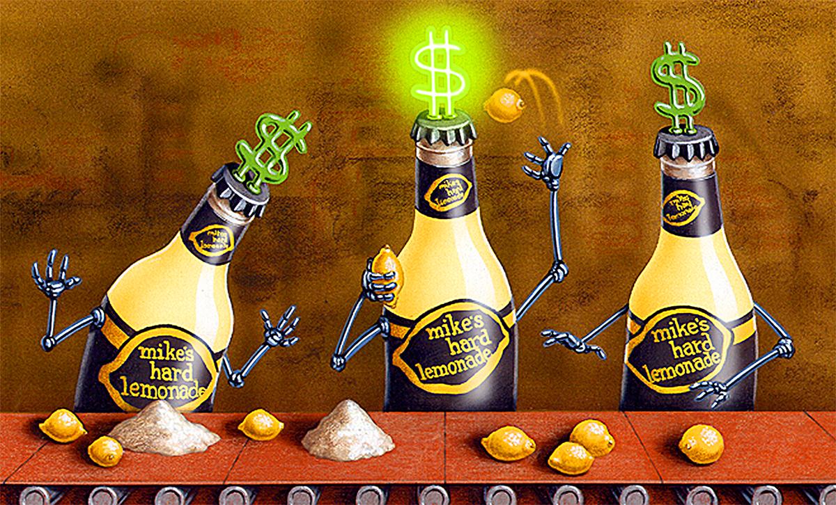 airbrushed illustration by John Fraser for Mike's Hard Lemonade ad, lemons, vodka coolers, quality control, assembly line