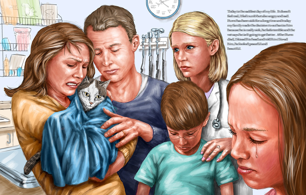 digital illustration by John Fraser of sad family visiting the vet and learning their cat is dying from the book Our love lives on for Miles In Heaven, veterinarian, pet loss, family, crying, comfort, sick pet
