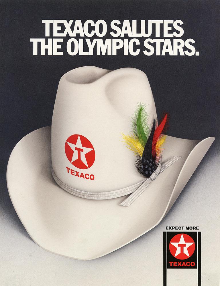 Airbrushed illustration by John Fraser for Texaco consumer magazine ad celebrating Olympic athletes, Olympics, athletes, sponsorship, cowboy hat, Texaco