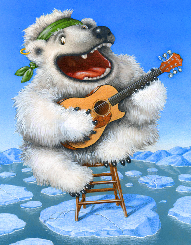 airbrushed illustration by John Fraser showing polar bear sitting on melting ice flow singing about climate change, polar bear, ice floes, climate change, protest songs, Bob Dylan songs, folk singer, playing guitar