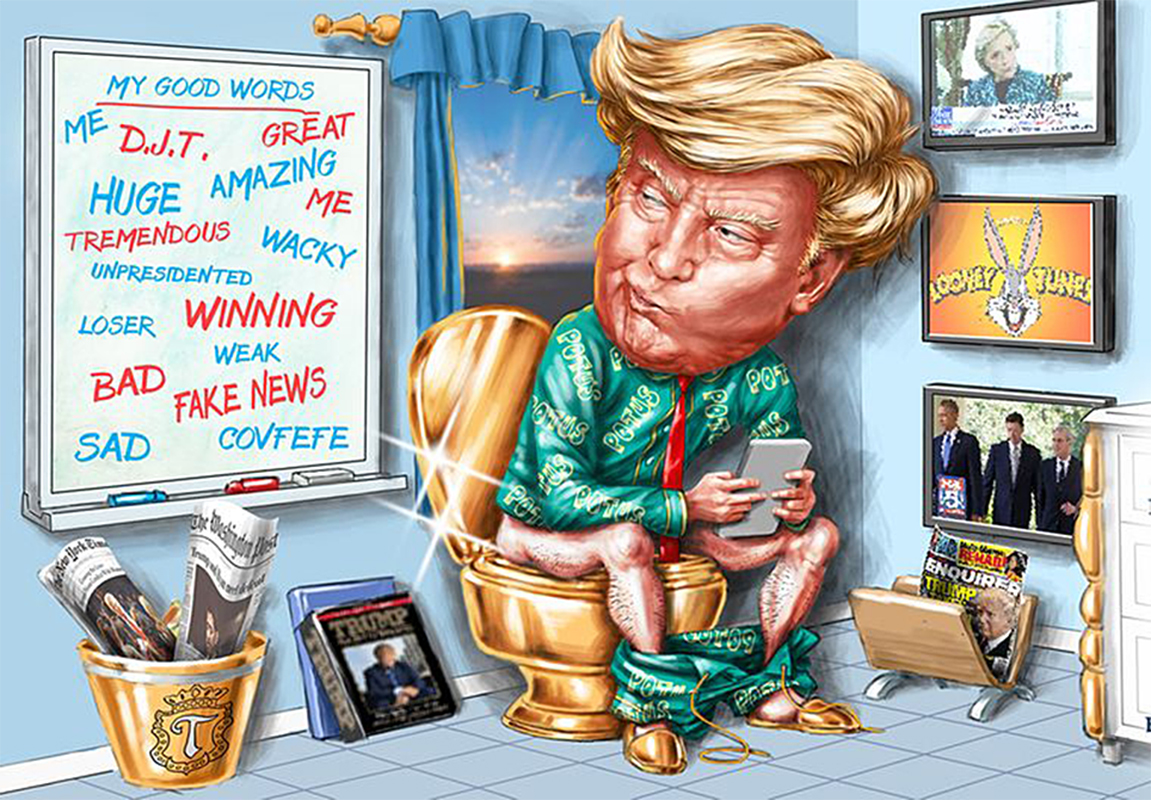 digital illustration by John Fraser of Donald Trump sitting on the toilet early in the morning and tweeting, toilet, tweet, social media, Donald Trump, Potus, keywords, President, gold toilet, White House