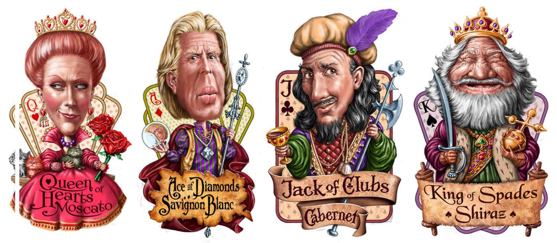 digital illustration by John Fraser of wine label designs based on face card characters, wine labels, facecards, face card characters, playing cards, wine varietals, funny faces, funny characters