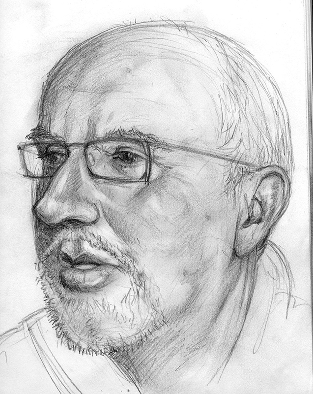 Pencil drawing portrait by John Fraser of Mark